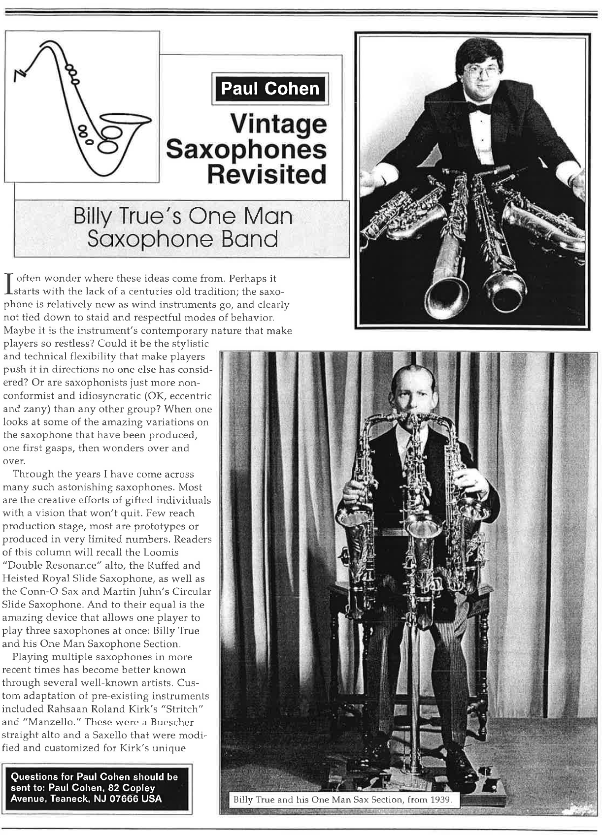 """Billy True's One Man Saxophone Band"" By Paul Cohen"